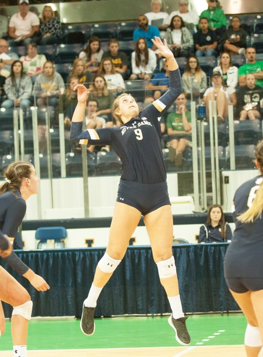 Irish junior outside hitter Rebecca Nunge goes up for the ball  during Notre Dame's 3-1 win over Valparaiso on Aug. 25 at Compton Family Ice Arena.