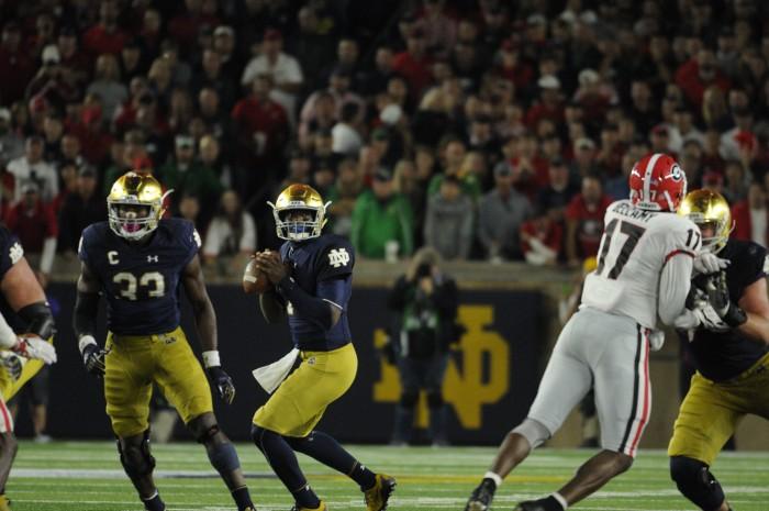Irish junior quarterback Brandon Wimbush drops back to pass in Notre Dame's 20-19 loss to Georgia on Saturday at Notre Dame Stadium.