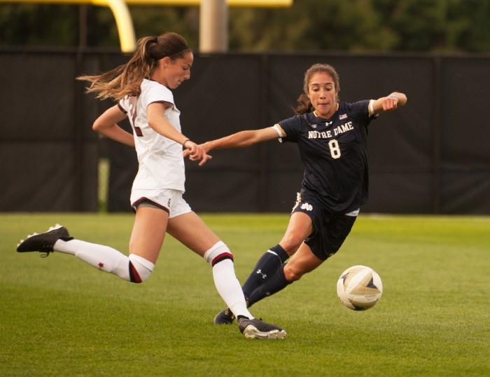 Irish junior defender Sabrina Flores evades a defender during Notre Dame's 1-0 loss to South Carolina on Sept. 1 at Alumni Stadium.