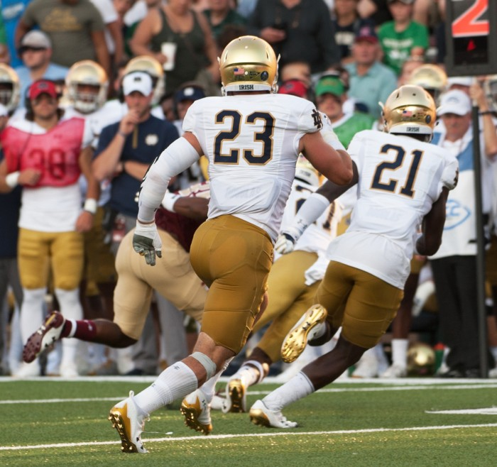 Irish senior linebacker Drue Tranquill chases down the opponent during Notre Dame's 49-20 win over Boston College on Saturday at Alumni Stadium.  Tranquill had four tackles against the Eagles.