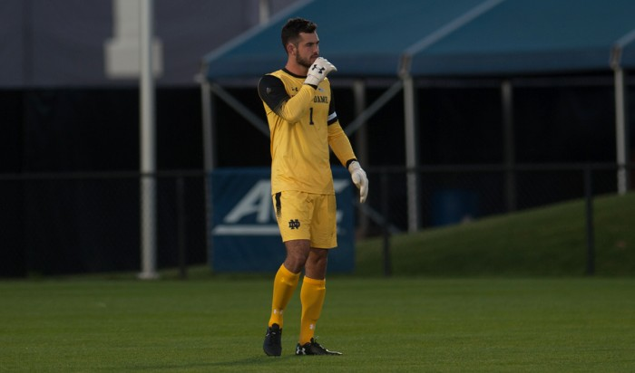 Irish graduate student goalkeeper Chris Hubbard surveys the field during Notre Dame's 3-0 win over North Carolina State on Sept. 15 at Alumni Stadium. Hubbard has 18 saves in seven games for the Irish this season, including five saves during Friday's loss to Virginia Tech.