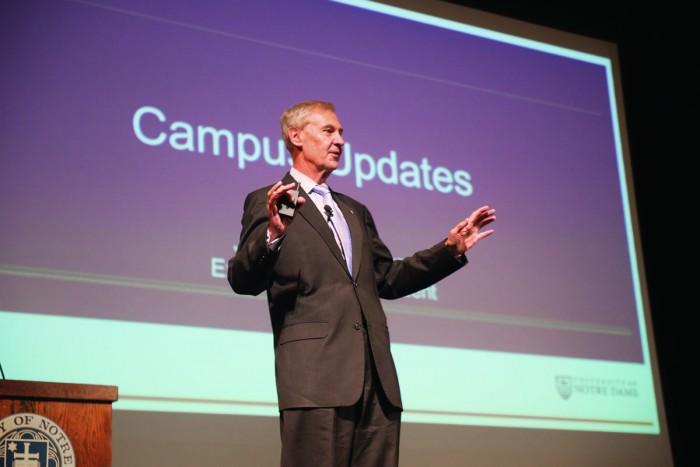 University executive vice president John Affleck-Graves speaks at a town hall Wednesday.