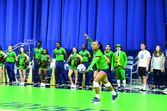 Irish sophomore outside hitter Jemma Yeadon prepares to serve the ball during Notre Dame's 3-0 win over Michigan State on Sept. 15 at Purcell Pavilion. Yeadon had 19 kills and 11 digs in the match.