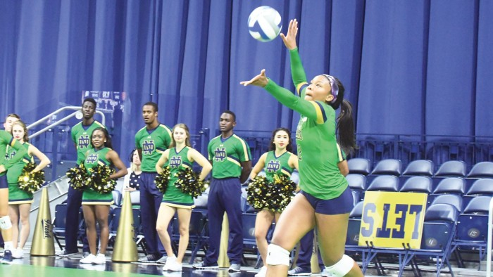 Irish sophomore outside hitter Jemma Yeadon serves the ball during Notre Dame's 3-0 win over Michigan State on Sept. 15 at Purcell Pavilion.