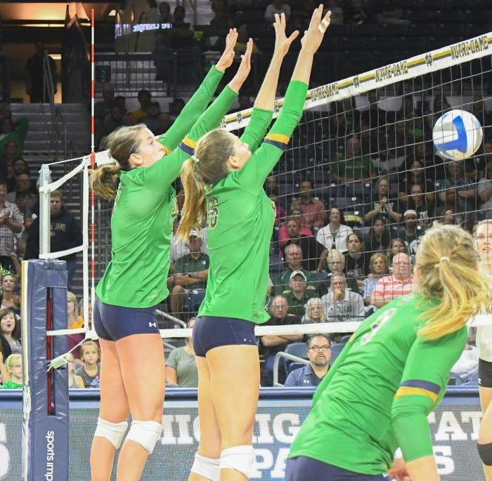 Irish junior middle blocker Meg Morningstar goes up to block during Notre Dame's 3-0 win over MSU on Sept. 15 at Purcell Pavilion. Morningstar, along with four other players, had three or more blocks.