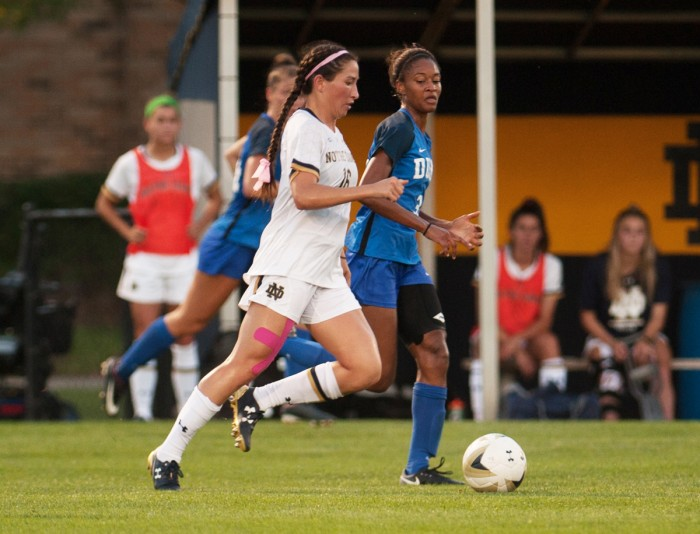 Graduate student midfielder Sandra Yu outpaces an opponent during No. 4 Duke's 3-0 win over Notre Dame on Sept. 21 at Alumni Stadium. Notre Dame suffered their first ACC loss of the season.