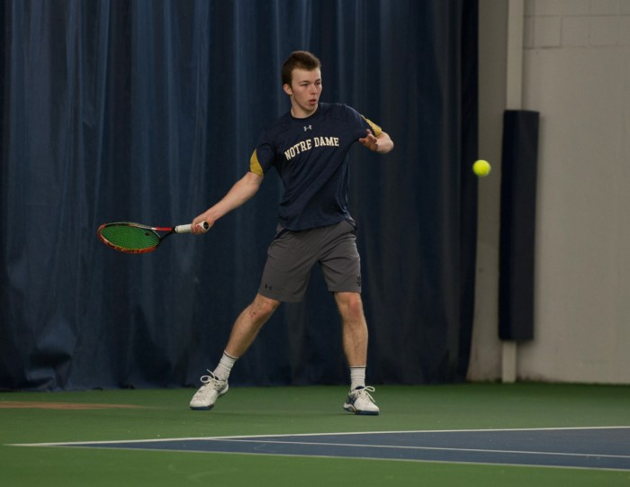 Irish sophomore Matt Gamble hits a forehand during Notre Dame's 7-0 win over Boston College on Feb. 11 at Eck Tennis Pavilion.