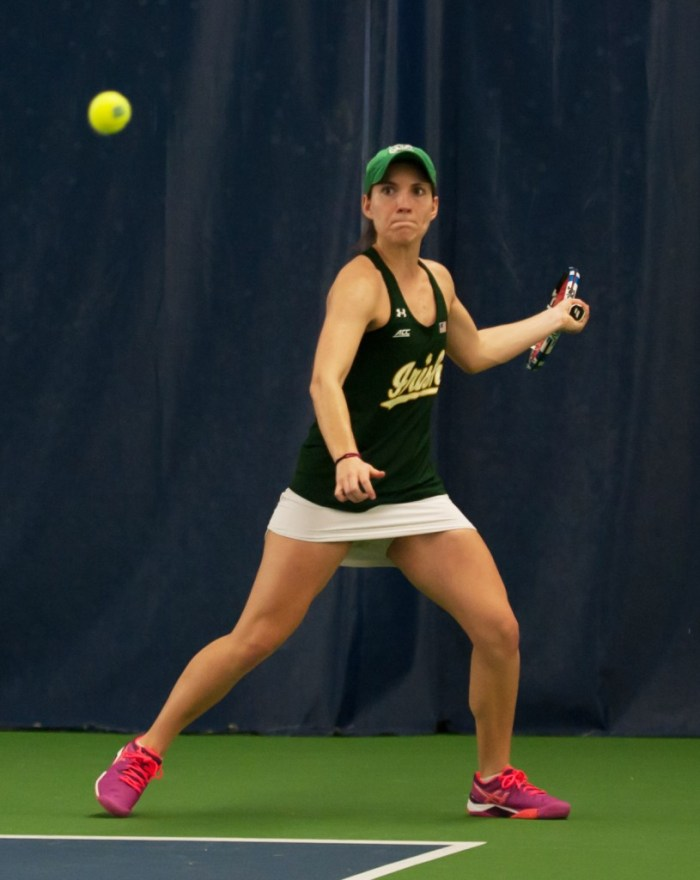 Irish senior Allison Miller readies to hit a forehand during Notre Dame's 5-2 win over Purdue on Feb. 22 at Eck Tennis Pavilion.
