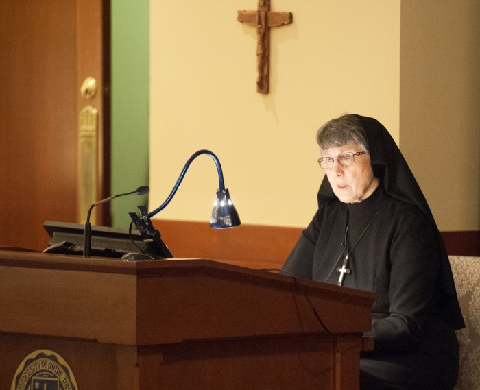 Sr. Mary Prudence Allen delivers the 6th Annual Human Dignity Lecture on Tuesday. Allen traced the philosophy of gender throughout the ages.