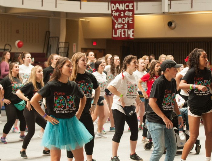 Students at last year's SMC Dance Marathon raise money for Riley Children's Hospital.