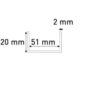 profile pvc en u de 50 mm blanc pour chants de panneaux et cloisons