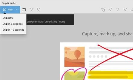 Microsoft Screen Sketch berubah nama jadi Snip & Sketch, opsi Capture Baru ditambahkan