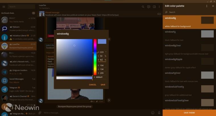 The color picker in Telegram Desktop