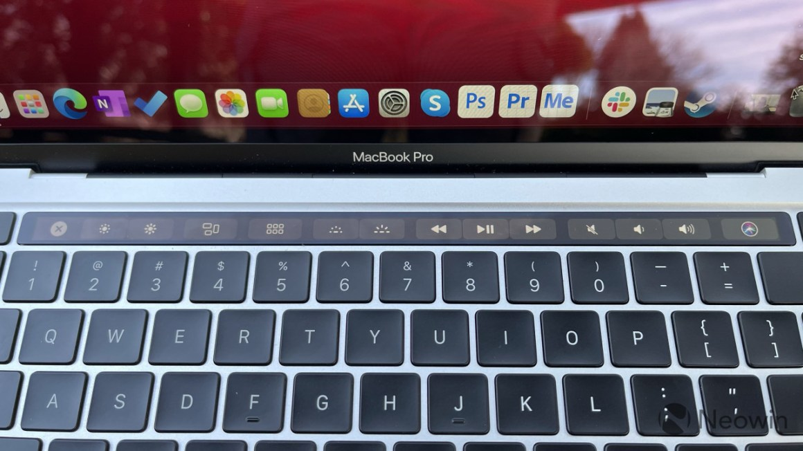 Close-up view of MacBook Pro Touch Bar