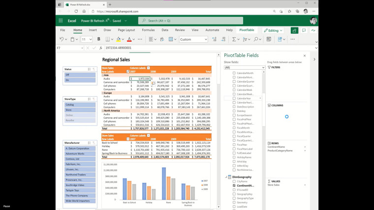 Excel on the web PivotTable pulling data from PowerBI