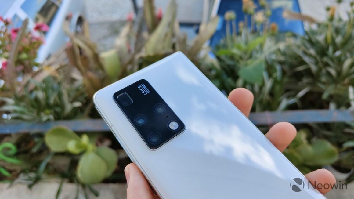 The rear camera setup on the Huawei Mate X2