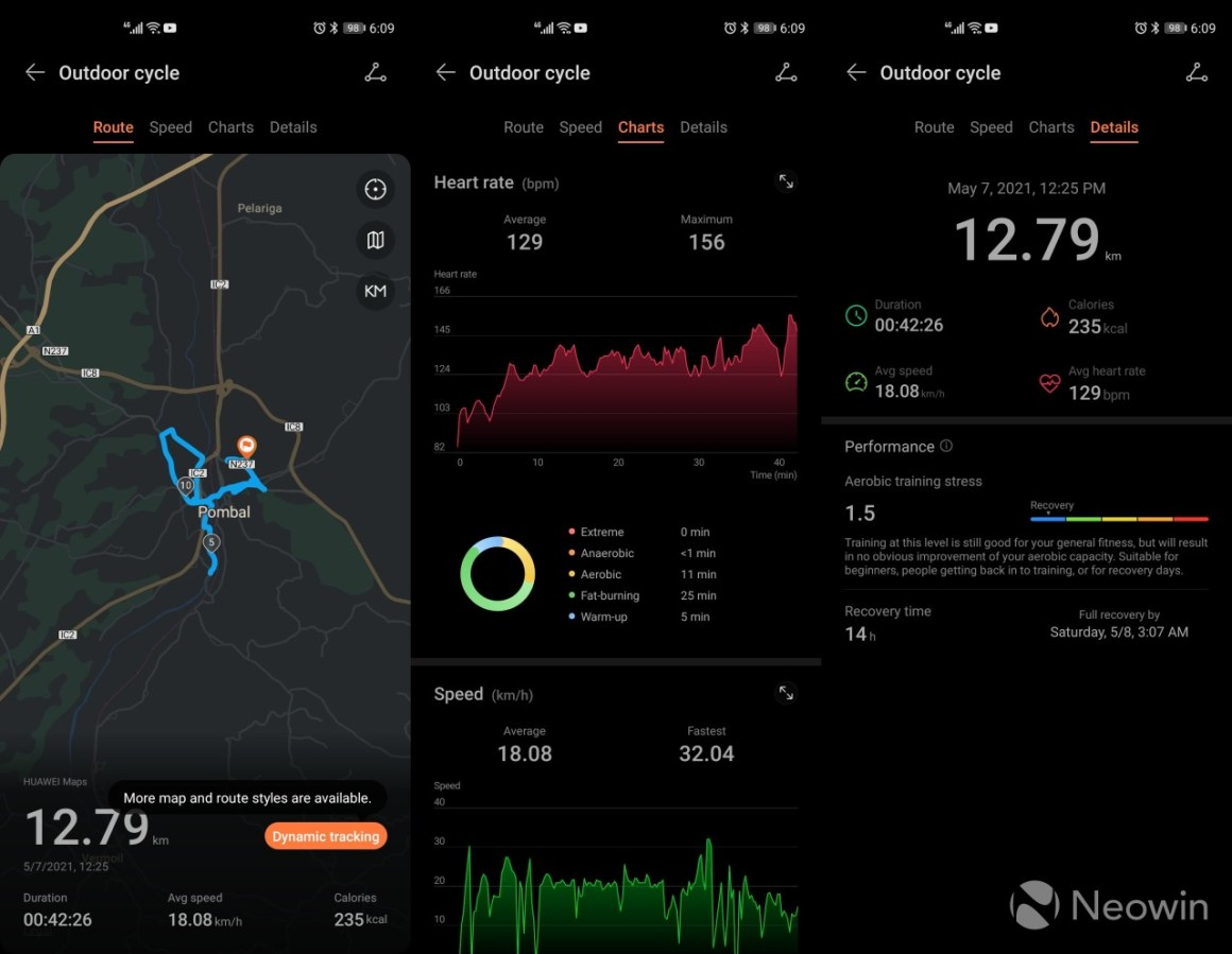 Activity tracking records for a bike ride in the Huawei Health app