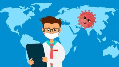 Illustration mit Arzt und Virus vor einer Weltkarte
