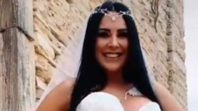Bride flashes G-string in see-through dress