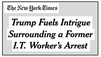 Headline at Deceptive NY Times Story Ties Trump(!) to Dems' IT Scandal