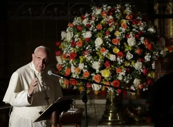 Pope Francis delivers his message during his visit