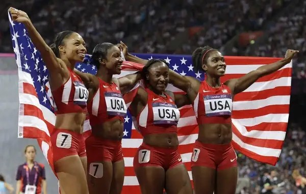 The U.S. women's 4x100-meter relay team members, from