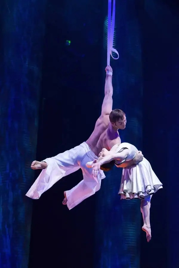 Igor Zaripov, left, plays The Aerialist and Erica
