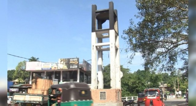 Protest against the demolition of a clock tower in Pilimathalawa