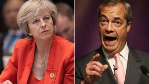 Image result for nigel farage and theresa may