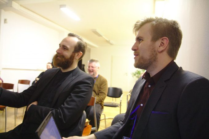 two larpers at a conference