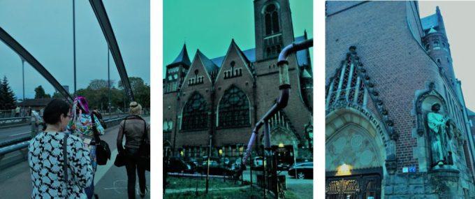 larpers walking on a bridge to a church