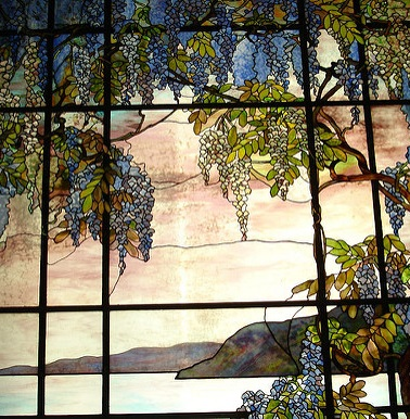 Stained Glass vines, flowers, and water