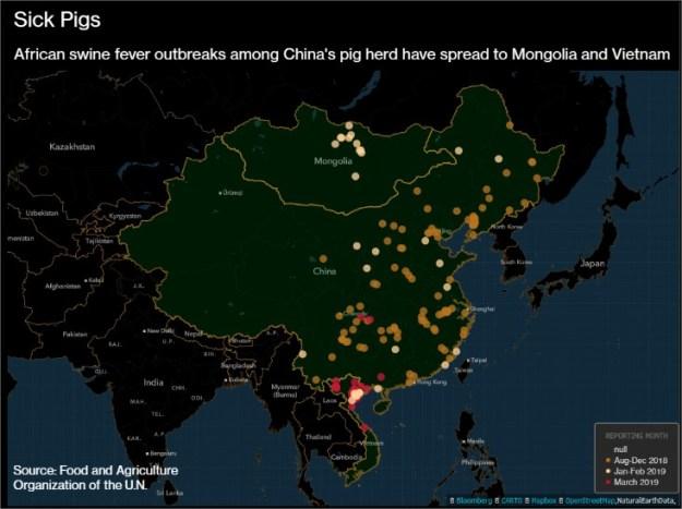 Mapa da peste suína na Ásia - Fonte: FAO/Bloomberg
