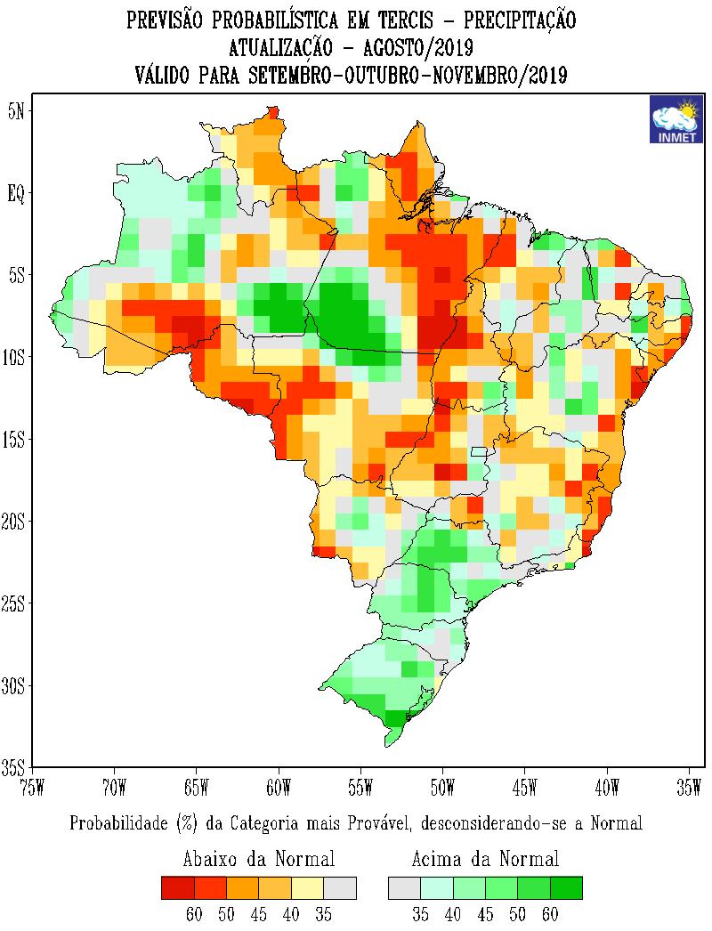 Mapa de previsão probabilística de precipitação do Inmet para setembro, outubro e novembro - Fonte: Inmet