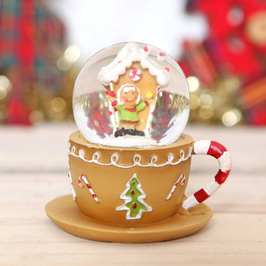 Christmas Gingerbread Mini Tea Cup Snow Globe Dome By Red