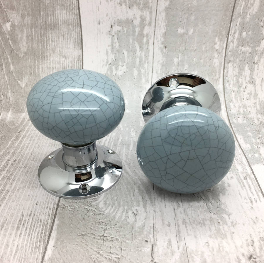 Grey Crackle Mortice Ceramic Entrance Doors Knobs By G