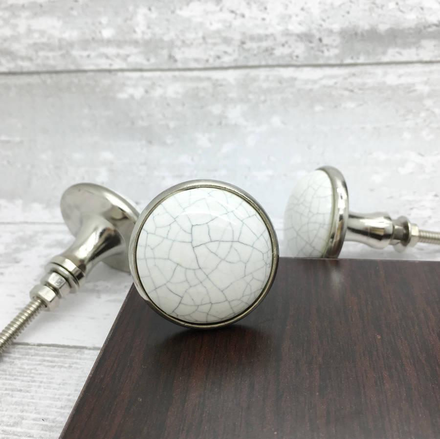 Crackle Metal Ceramic Door Knobs Cupboard Handles By G