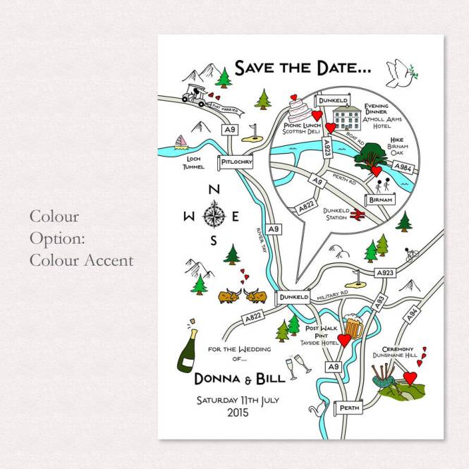 Wedding Or Party Ilrated Map Invitation