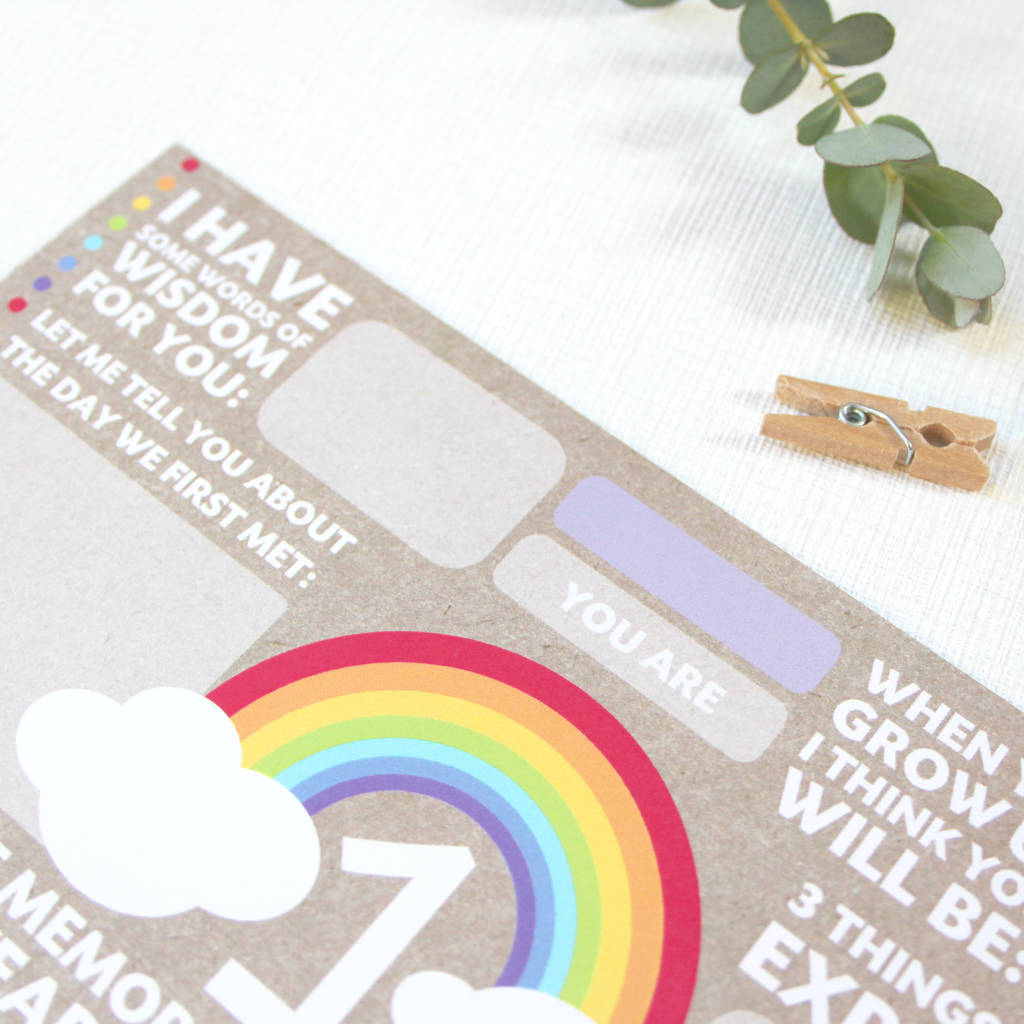 First Birthday Time Capsule Cards Rainbow By Love Paper Wishes Notonthehighstreet Com