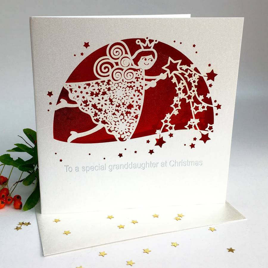 Christmas Laser Cut Card To My Granddaughter By Pink