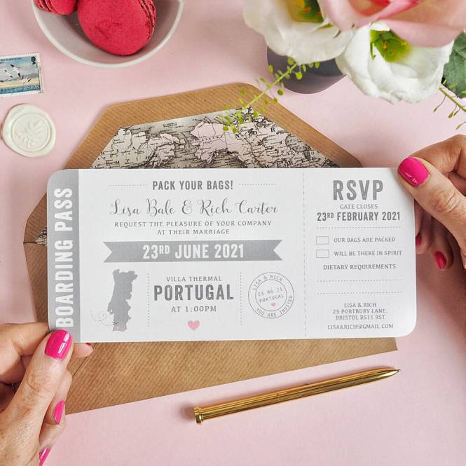 Map Boarding Pass Wedding Invitation By