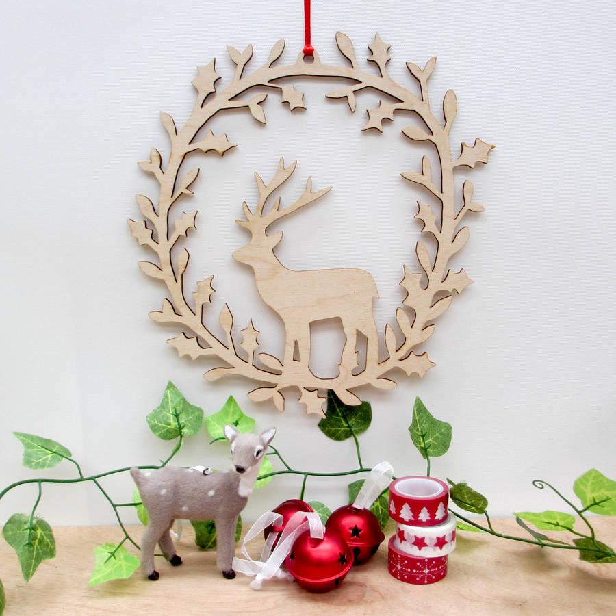 Deer Wooden Wreath By Boodle Notonthehighstreet Com
