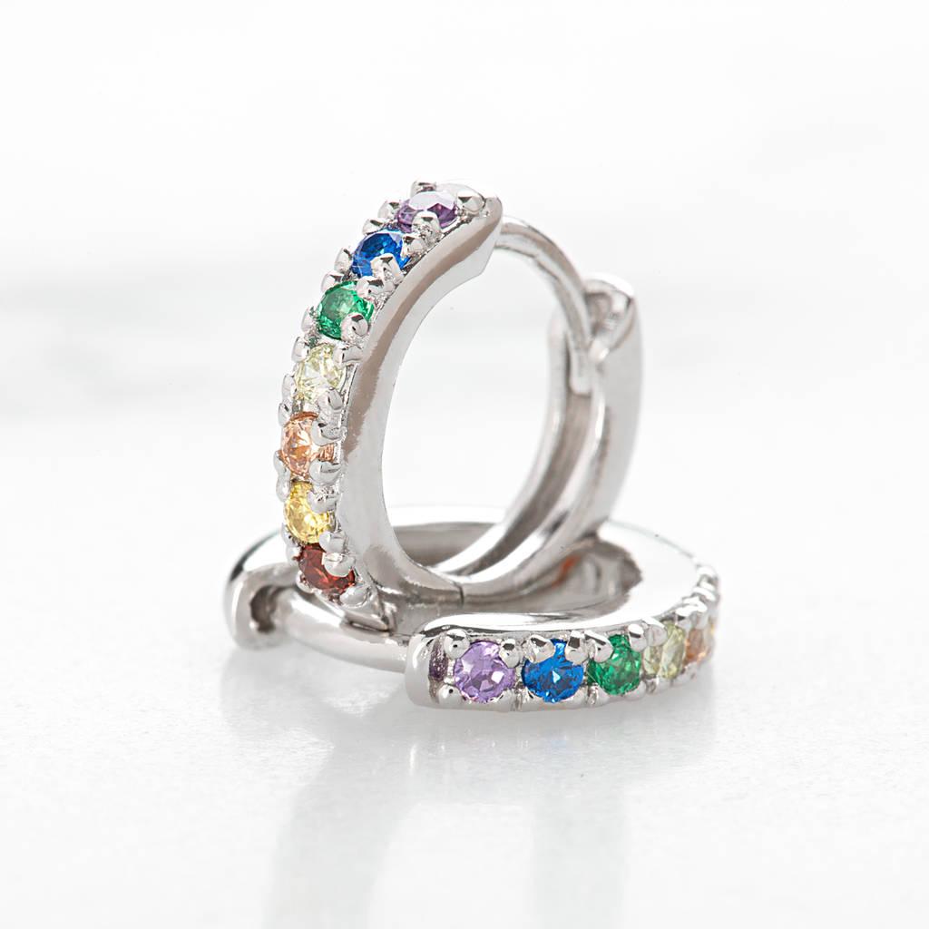 Huggie Hoop Earrings With Rainbow Stones By Scream Pretty