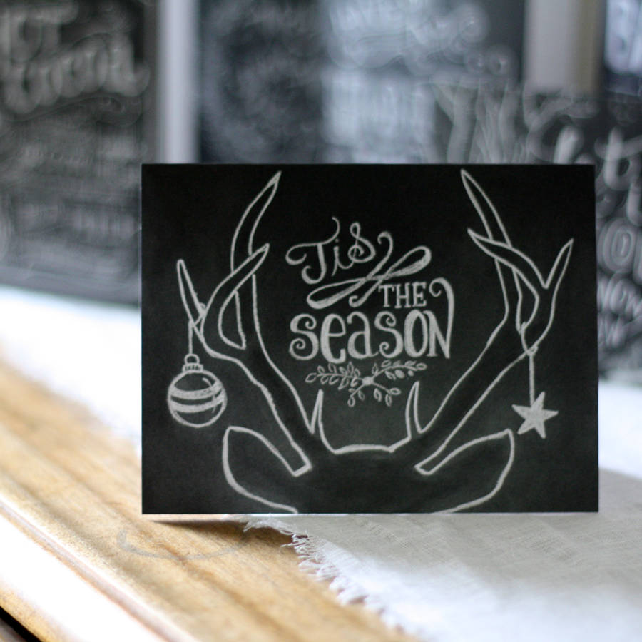 Chalkboard Calligraphy Christmas Cards Set Of Eight By The