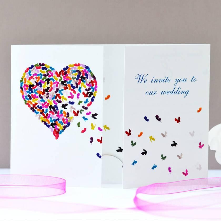 Erfly Heart Wedding Invitation