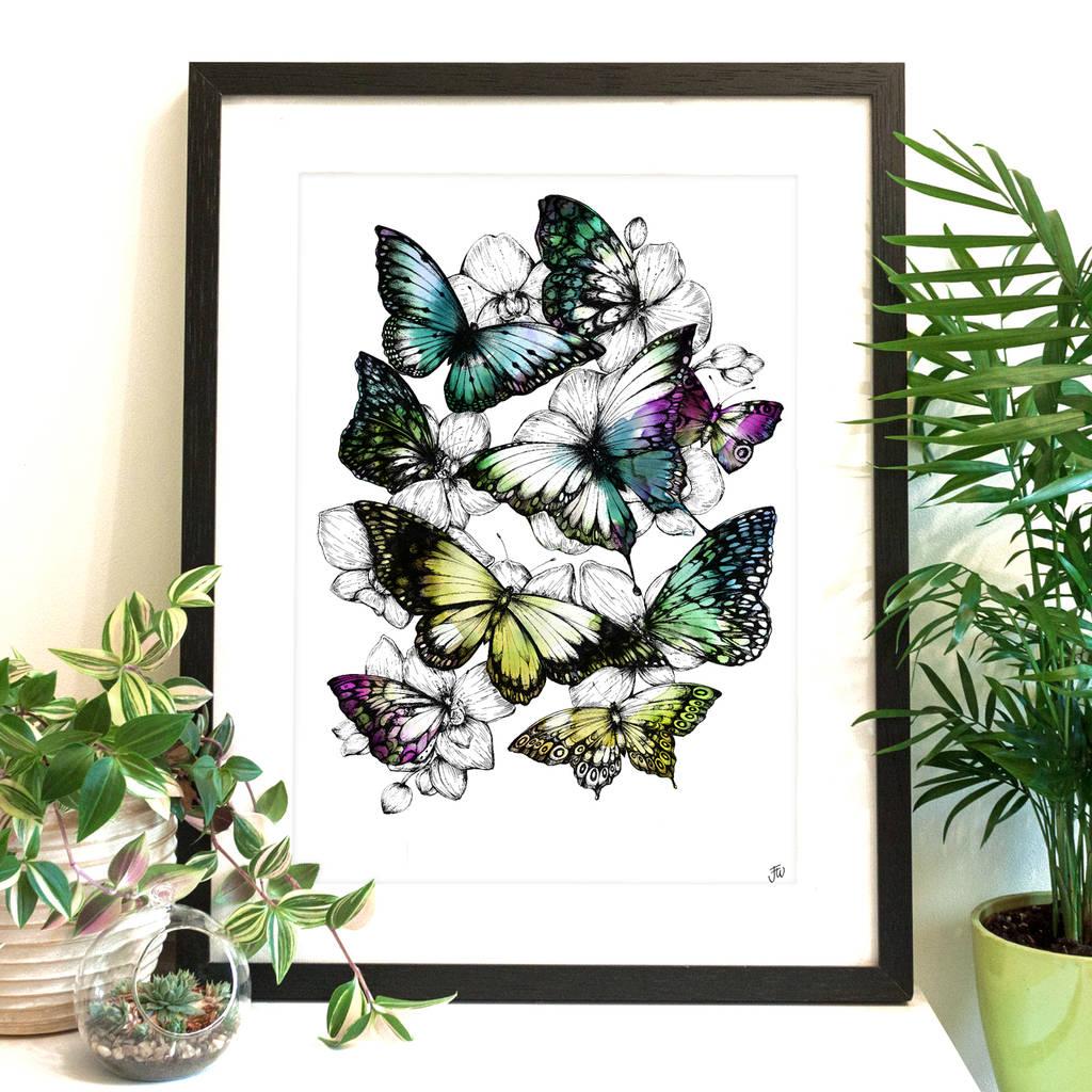 Butterfly Kaleidoscope Fine Art Giclee Print By Jessica Wilde