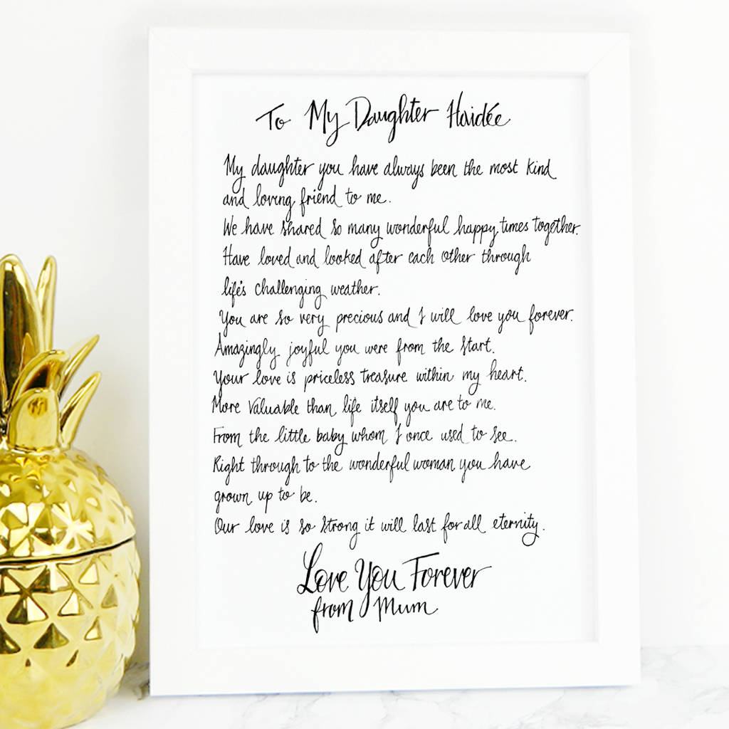 Daughter Poem Gift By De Fraine Design London