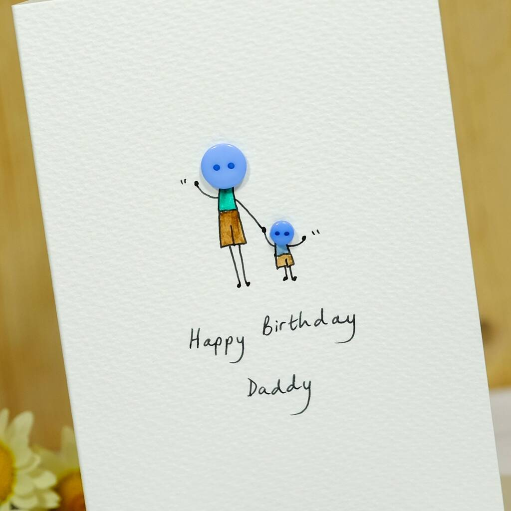 Personalised Button Daddy Handmade Card By Hannah Shelbourne Designs Notonthehighstreet Com