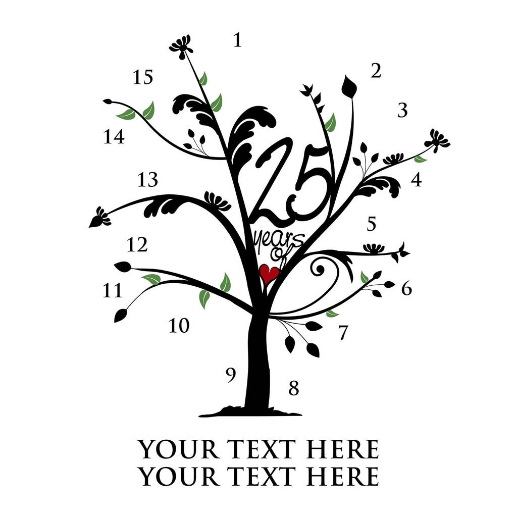 Personalised Metallic Silver Anniversary Family Tree By A
