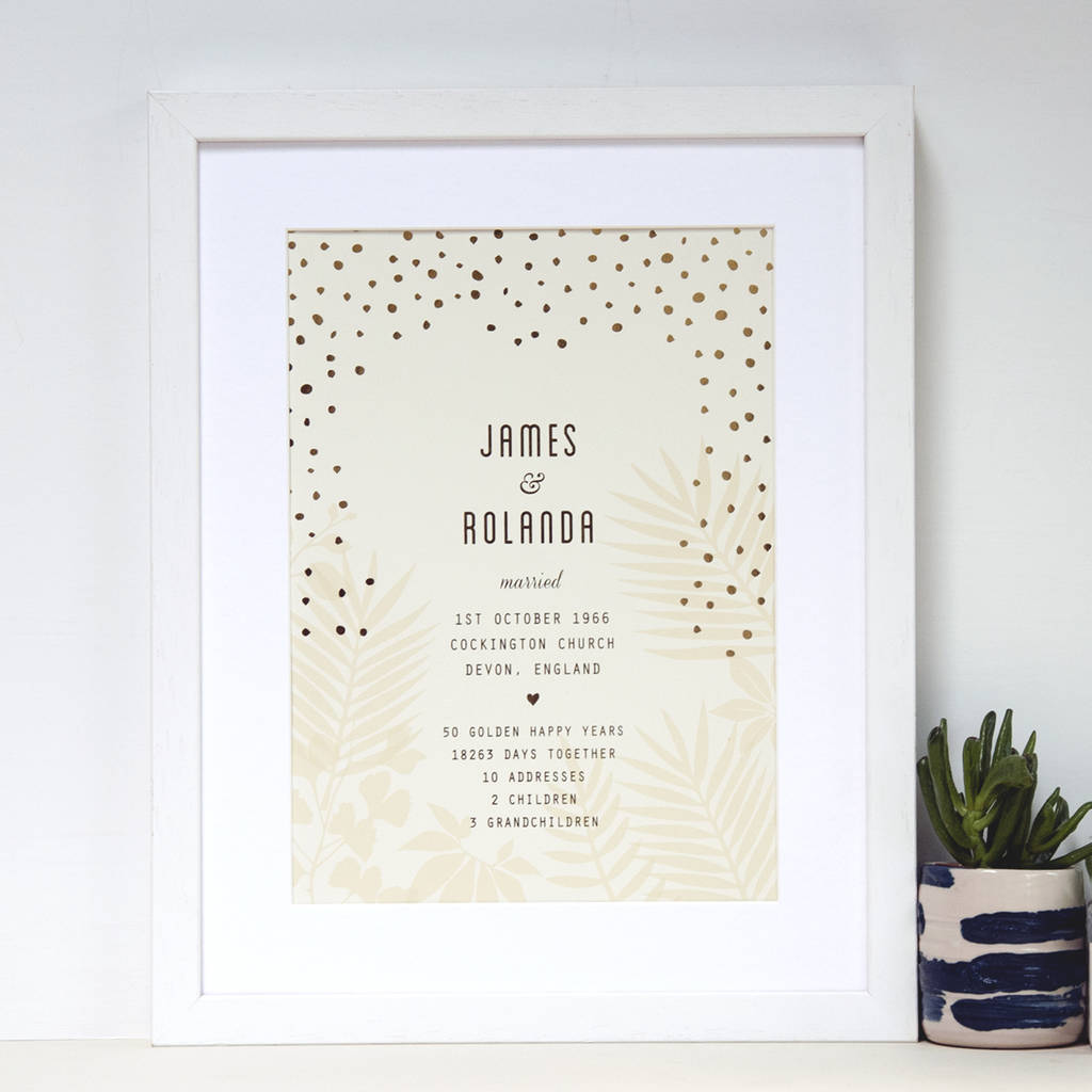 Personalised With Gold 50th Wedding Anniversary Gift By Ant Design Gifts Notonthehighstreet Com